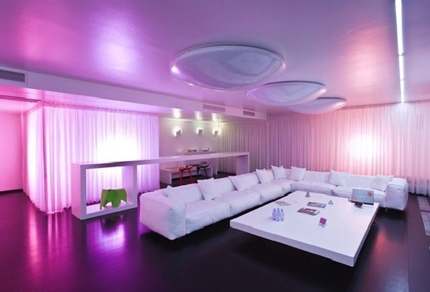 Pink beautiful lighting design at Luxury Apartments Design With Cool Lighting and Beautiful