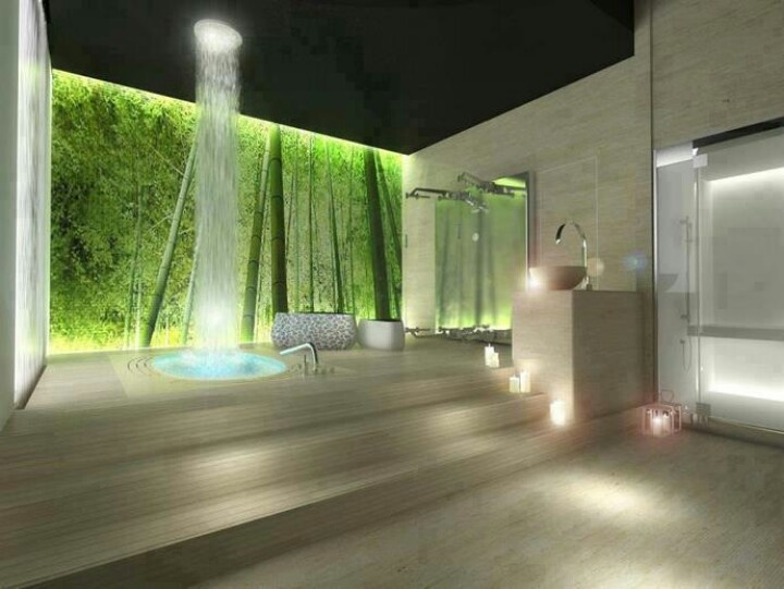 luxurious-wide-open-shower-room-design-with-amazing-round-shower-head-mounted-on-dark-ceiling-completed-with-wooden-floors-and-stairs-green-natural-inspired-wall-and-nice-scented-candle-decorations-b