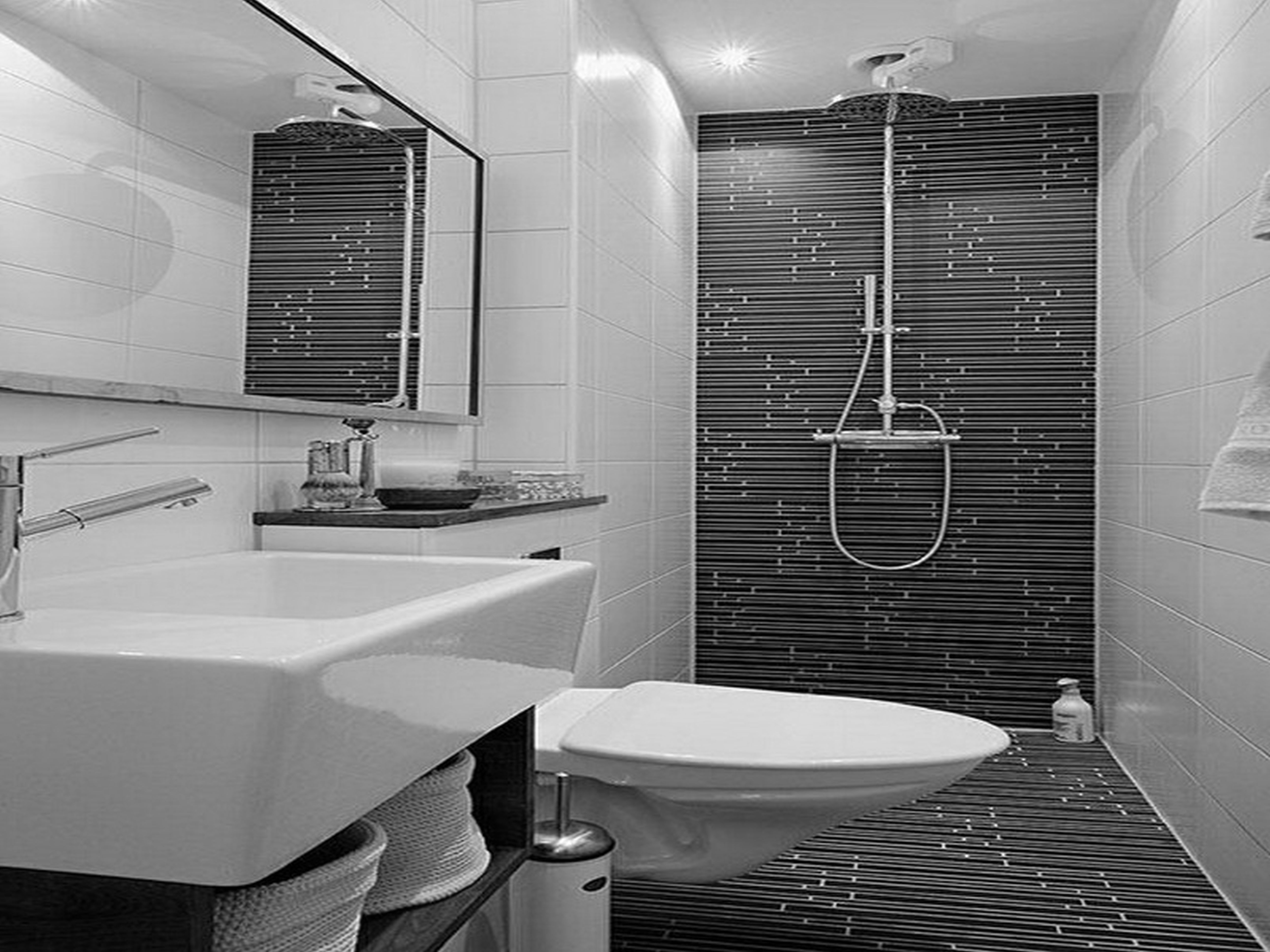 inspiration-bathroom-eye-catching-chrome-free-standing-head-shower-double-handle-attach-gray-subway-graphic-ceramic-panels-as-well-as-white-floating-rectangular-porcelain-sink-with-wall-mount-bath-mi