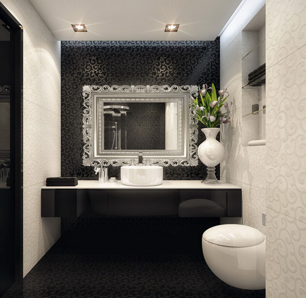 bathroom-elegant-black-contemporary-bathroom-design-ideas-white-with-wall-white-bathrooms-designs-wallpaper-and-cabinet-vanity-sink-unique-mirror-also-potted-plants-glass-shelves-on-the-plus-modern-to