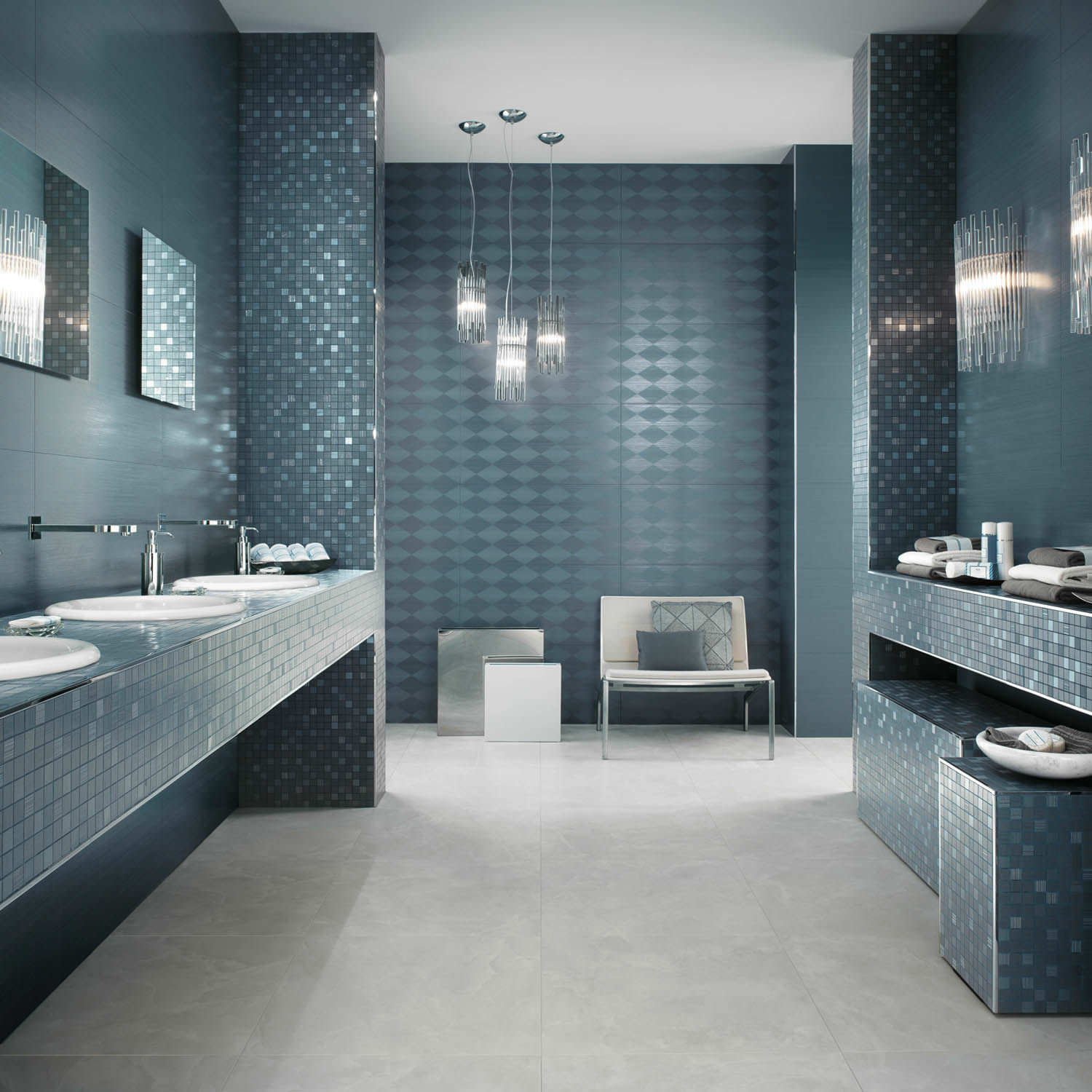 youll rarely find traditional bathroom tiles in a modern bathfew white subway tiles or four inch squares here instead you may spot oversize limestone or