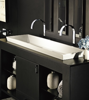 Mti 48x14 Solid Surface Sink Petra Double Semi Recessed