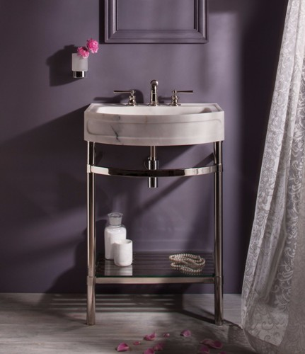 Stone Forest   Stand W/ Glass Shelf For Harbor Washbasin