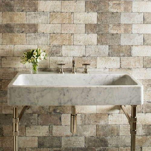 Stone Forest Trough Console Specify Faucet Drilling If
