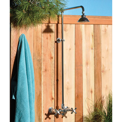 Strom Plumbing - Outdoor Shower Unit. 7 Inch Center Wall Mt Faucet