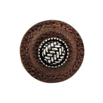Antique Brass Vicenza Designs K1279 Cestino Knob with Brown Round Leather Large