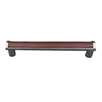 Vicenza Designs P2014 9-Inch Black Leather Insert Pull Appliance Satin Nickel