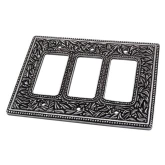 Satin Nickel Vicenza Designs WPJ7006 San Michele Wall Plate with Jumbo Double Toggle Opening